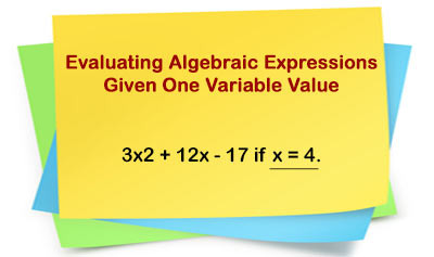 Evaluating Algebraic Expressions - Example 1