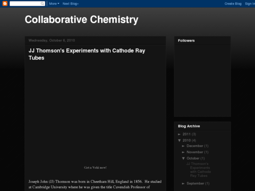 Collaborative Chemistry: JJ Thomson's Experiments with Cathode Ray Tubes