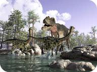 Drawing of dinosaurs, including a Tyrannosaurus Rex