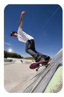 Skateboarder changing direction