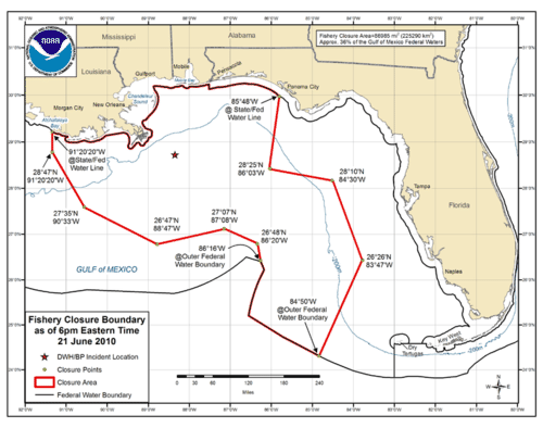 Map of the fishing ban as a result of the Deepwater Horizon oil spill
