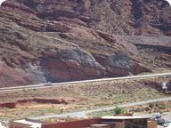 Faults along an outcrop in Moab, Utah