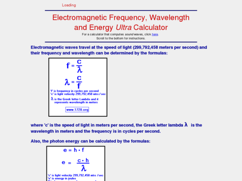 Electromagnetic Frequency, Wavelength and Energy Ultra Calculator
