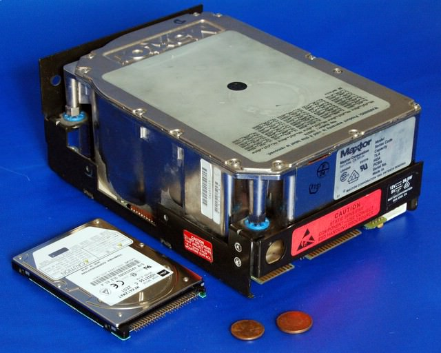 Comparison of large and hard drive.