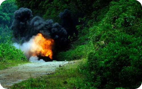 A dynamite explosion is a chemical reaction