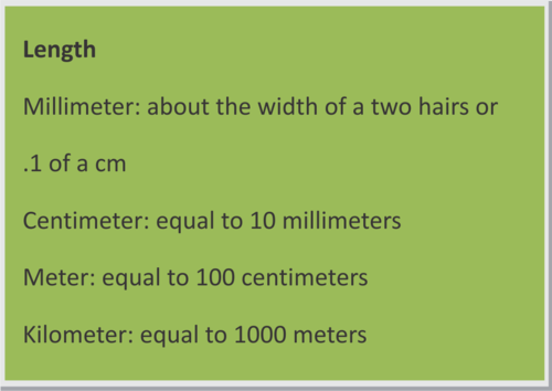 Convert Metric Units of Measurement in Real-World Situations Section 1.13