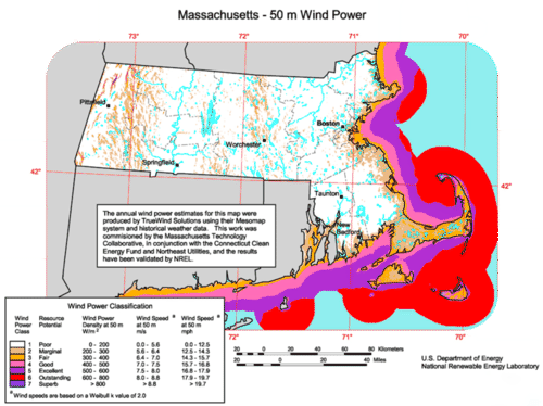 Cape Wind off of Cape Cod in Massachusetts