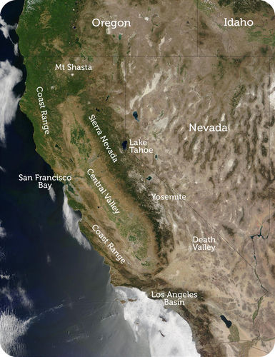 Map of major geographic features of California