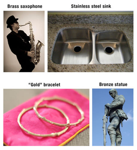Brass saxophones, stainless steel sinks, gold bracelets, and bronze statues are all made from alloys