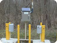 Picture of a test well drilled to monitor groundwater pollution