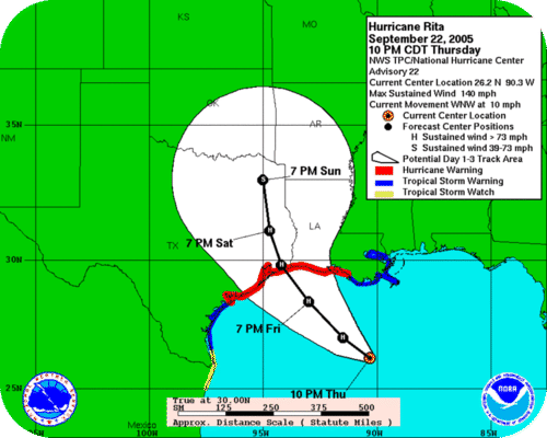 Weather prediction for Hurricane Rita