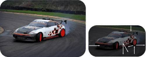 Shows two images of a car drifting, one without vectors showing forces and one with