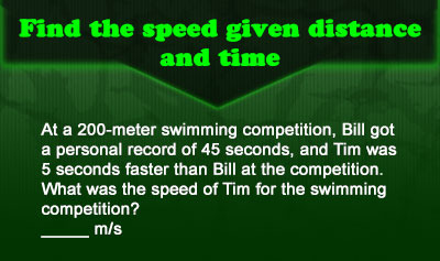 Speed = Distance / Time - Example 1