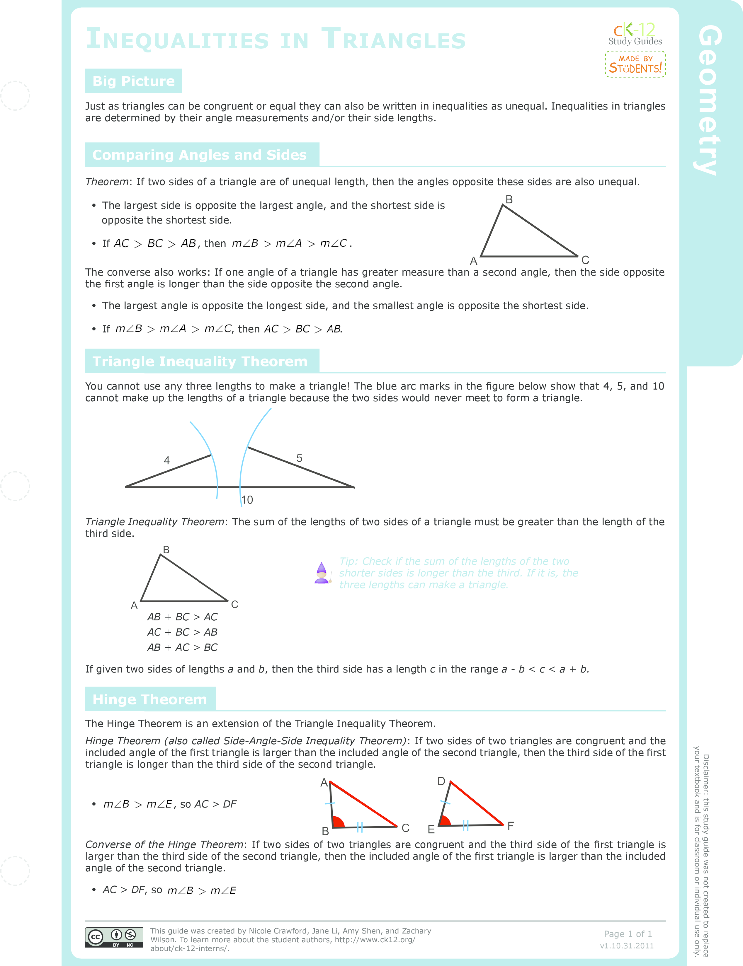 Worksheets Triangle Inequality Practice Worksheet triangle inequality theorem ck 12 foundation inequalities in triangles study guide