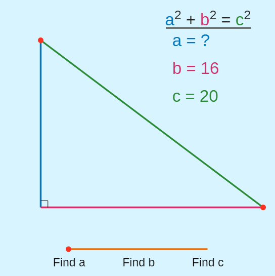lengths of triangle sides using the pythagorean theorem ck 12find the missing side