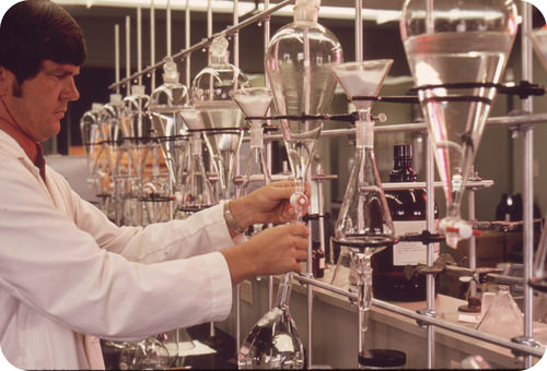 Chemist performing research in a lab