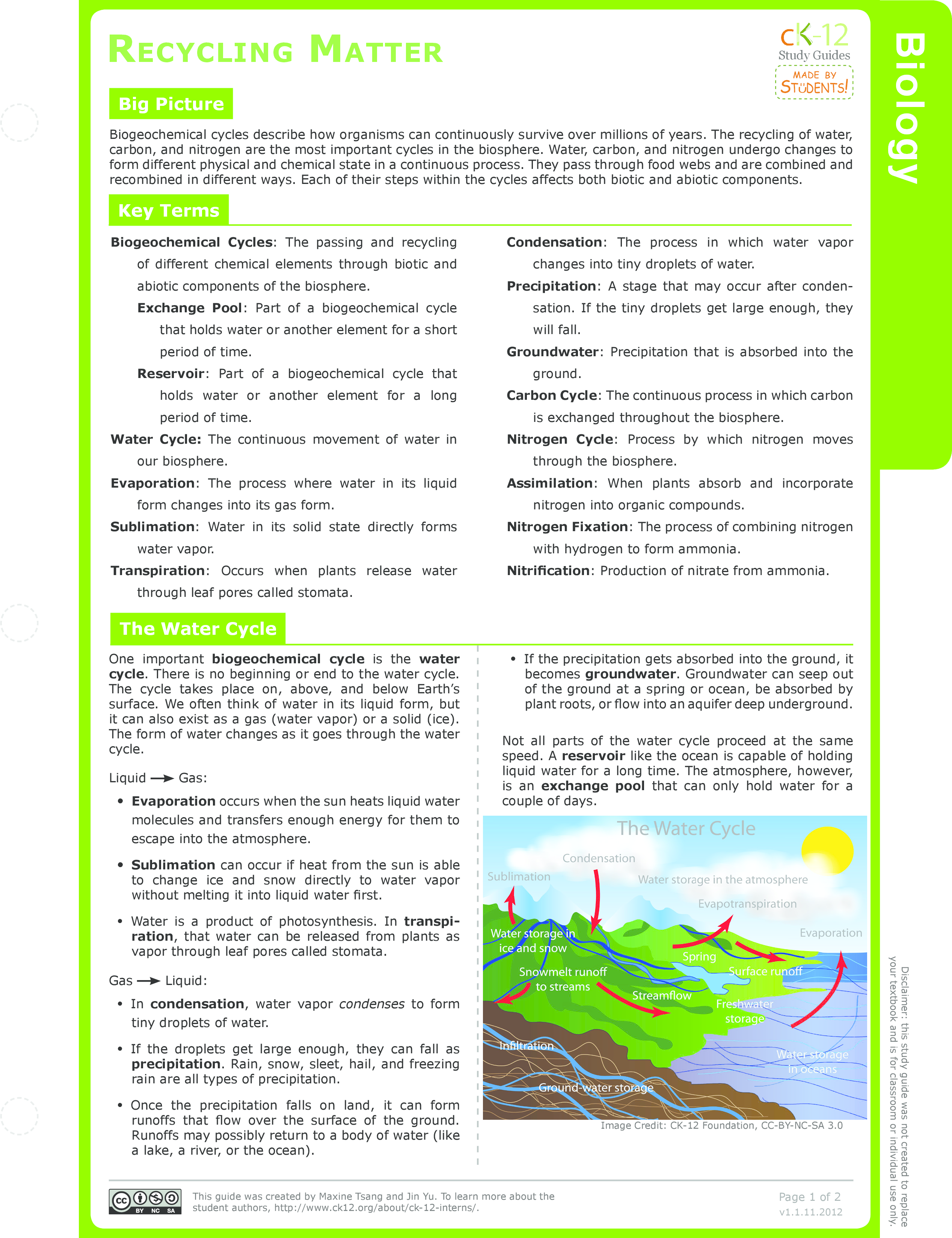 worksheet Nitrogen Cycle Worksheet High School nitrogen cycle ck 12 foundation recycling matter study guide