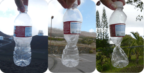 Water bottle collapsing due to greater air pressure at lower altitudes