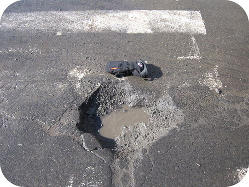 Weathering leads to potholes in roads