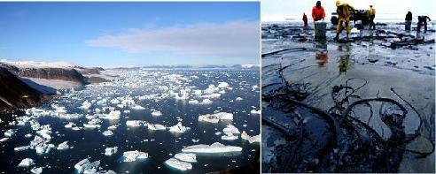 Icebergs breaking off glaciers and an oil spill.
