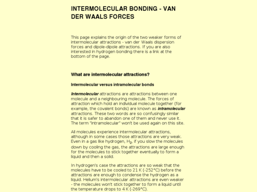 Intermolecular Bonding- Van Der Waals Forces