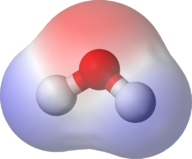 Diagram of water, showing it is a polar molecule