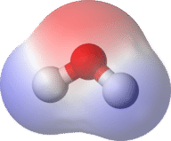 Diagram of water, showing it is a polar molecule