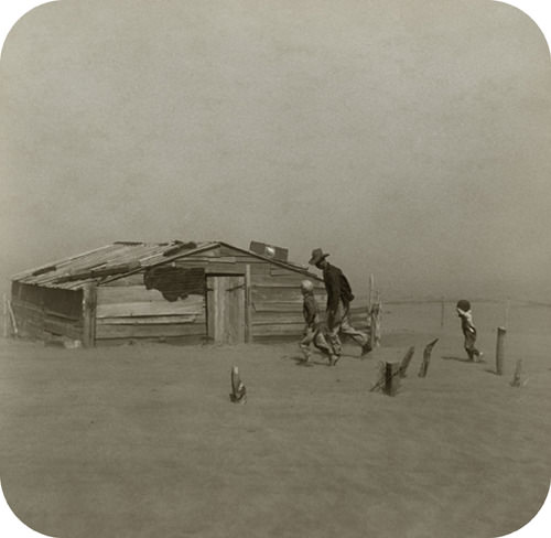 A farmer in a dust storm during the Dust Bowl