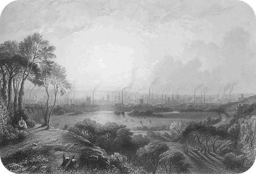 Polluting smokestacks in Manchester