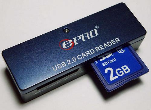 SD card in a card reader
