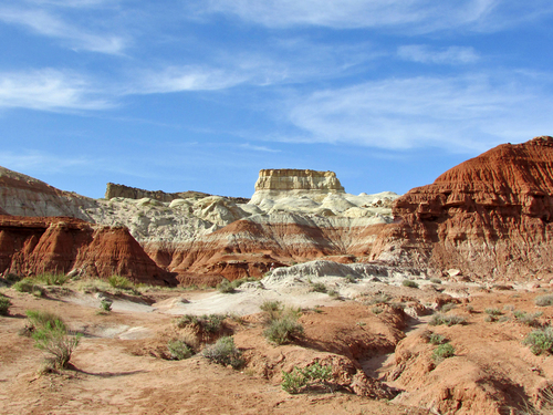 Layers of different types of rocks are exposed in this photo from Grand Staircase-Escalante National Monument