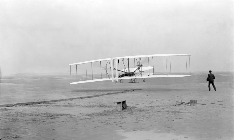 The Wright brothers' first powered flight.