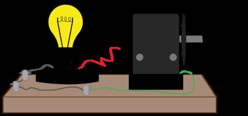 Diagram of a handcrank powered lightbulb