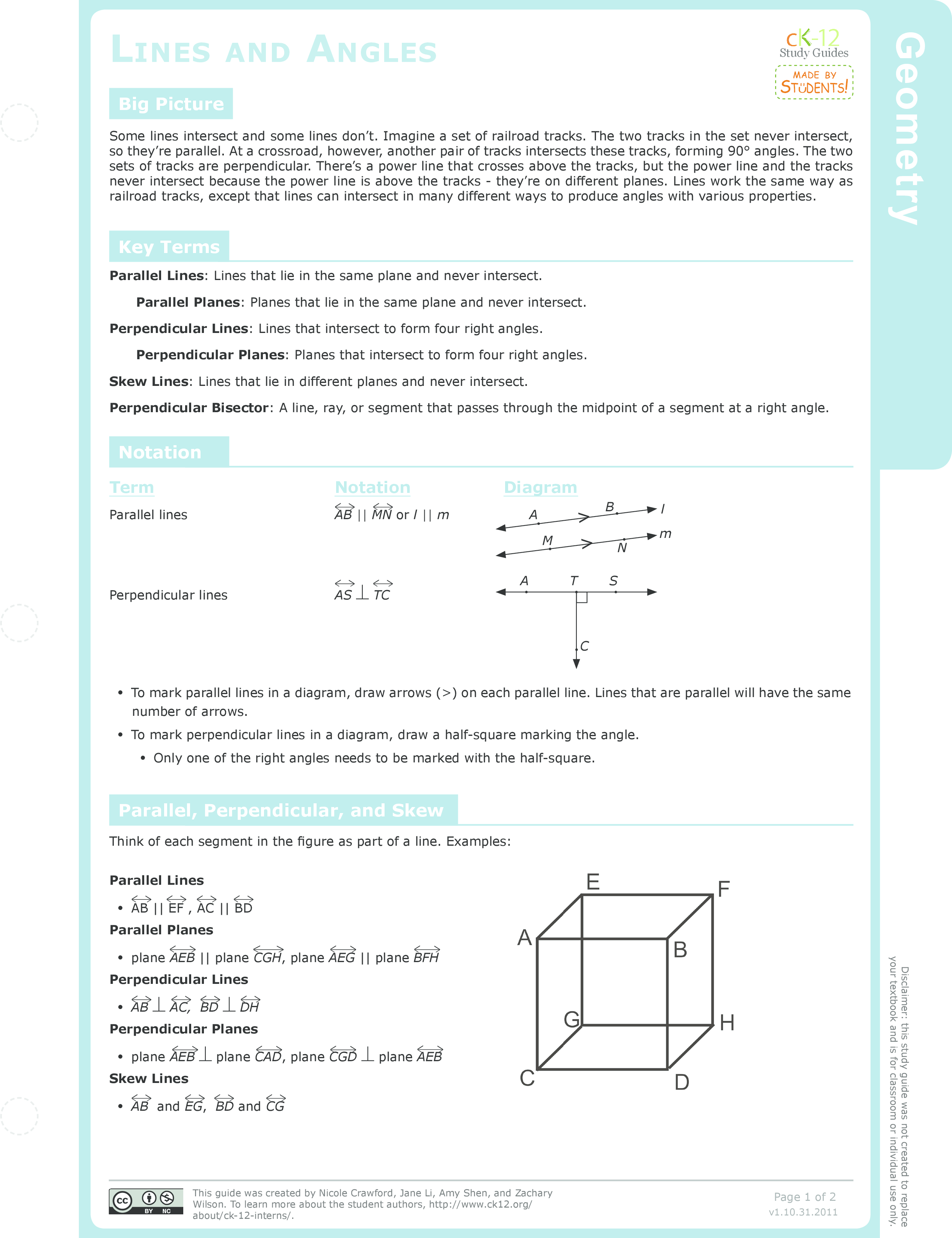 Parallel And Skew Lines Ck 12 Foundation