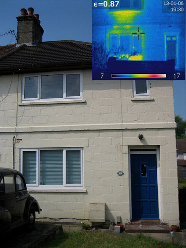 Thermal camera view of house