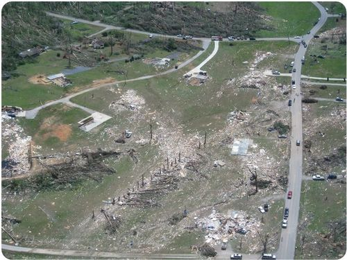 Damage caused by a tornado