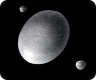 Drawing of the dwarf planet Haumea and its moons