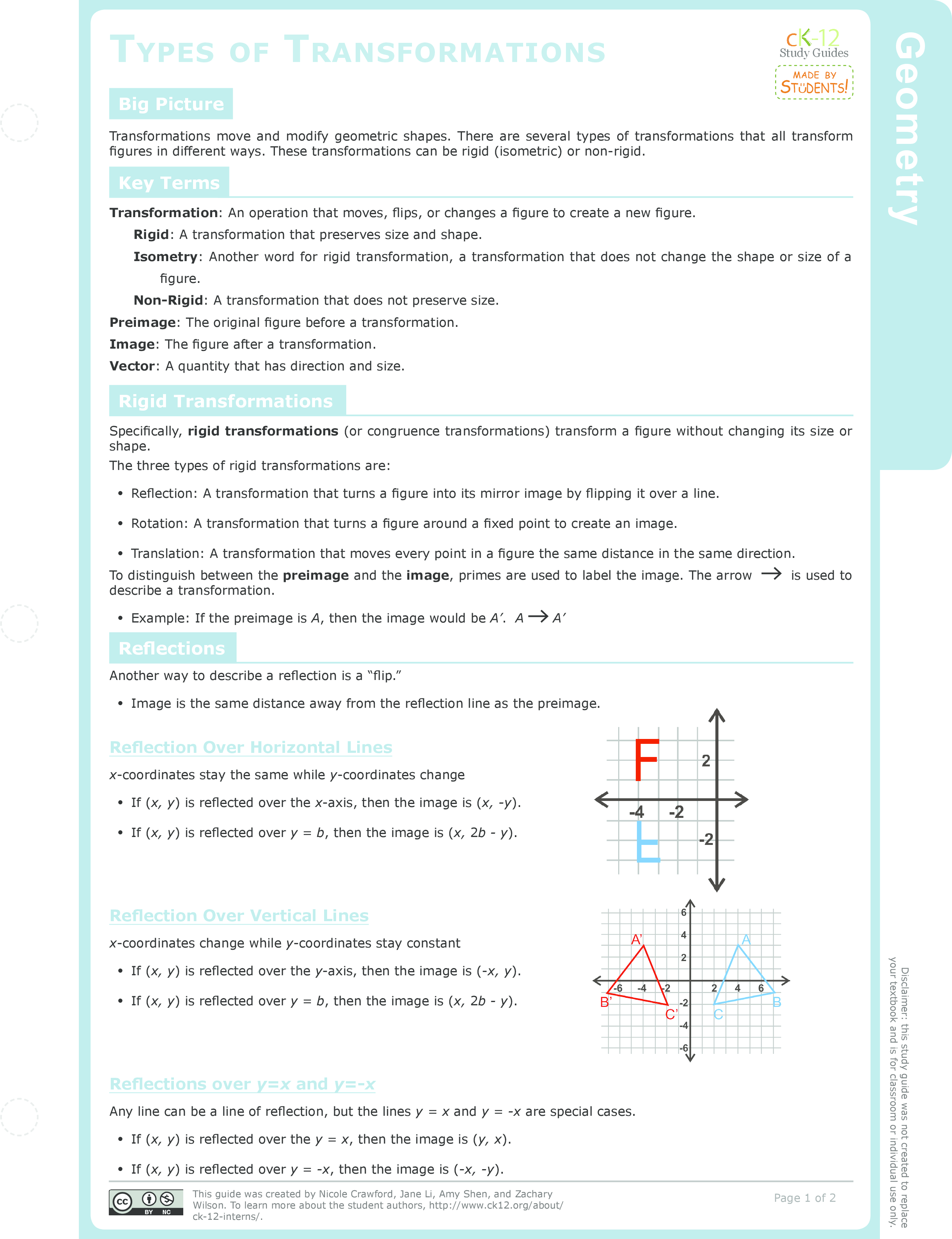 worksheet Coordinate Plane Picture Worksheets dilation in the coordinate plane ck 12 foundation types of transformations study guide