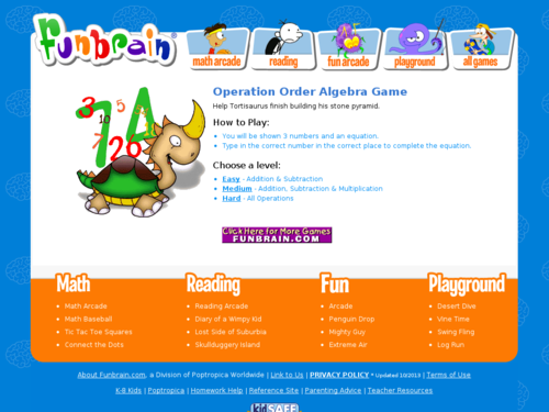 Operation Order Algebra Game