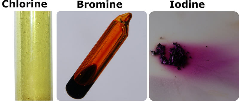 Images of chlorine, bromine, and iodine