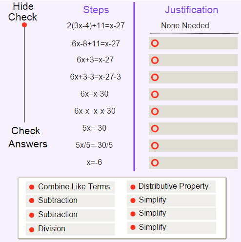 Properties of Equality and Congruence: Justifying Algebraic Steps