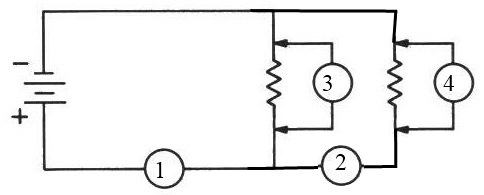 Practice problem for identifying correct and incorrect positions of voltmeters and ammeters