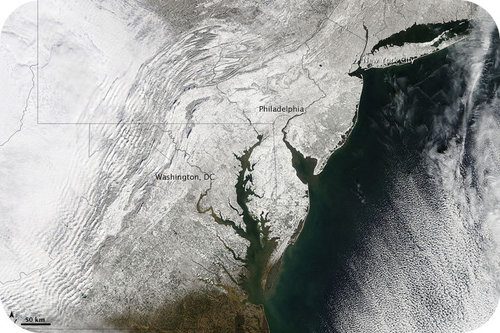 Satellite image of snow and blizzard over the East Coast in 2010