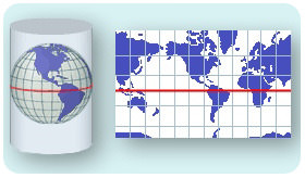A Mercator projection translates the curved surface of Earth onto a cylinder