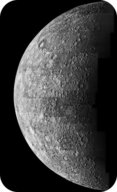 The surface of Mercury is covered with craters, like Earth's Moon