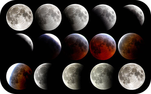 A lunar eclipse is shown in a series of pictures