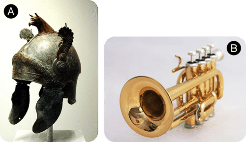 Bronze helmets and brass trumpets are made from alloys