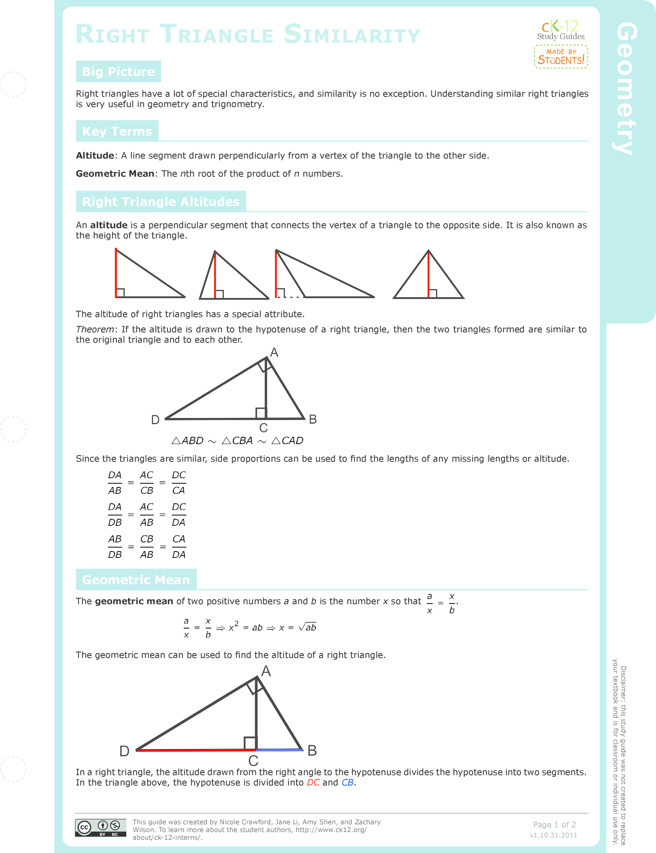 Inscribed Similar Triangles | CK-12 Foundation