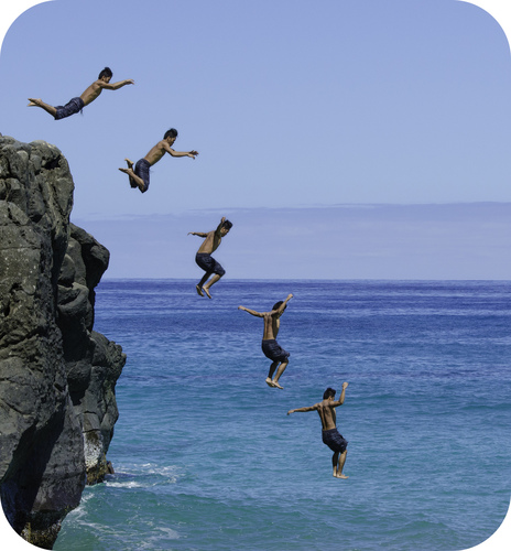 Cliff divers undergo effective free fall