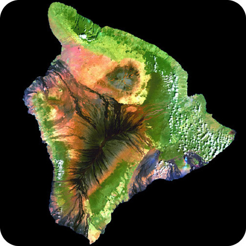 Satellite images is Hawaii, which was created by hotspot volcanism